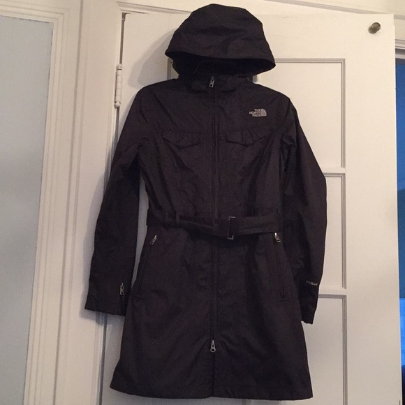 0872a946b North Face Hyvent Belted Trench Coat with Hood